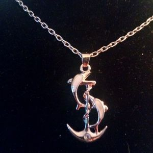 Silver Anchor with 2 Dolphins with fire opal